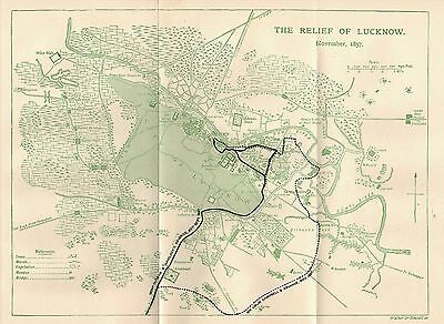 Antique Map/plan, Indian Mutiny, The Relief Of Lucknow 1857
