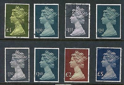 1977/87 set of 8 High Value Machins, £1 - £5 - Used - SG 1026/8