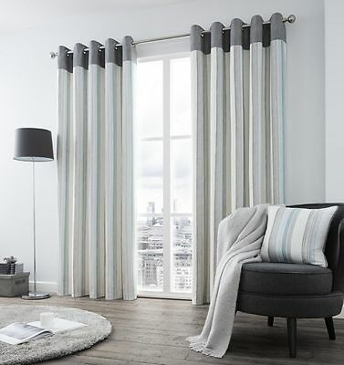 Rydell Stripe Luxury Designer Grey & Teal Fully Lined Eyelet Ready Made Curtains