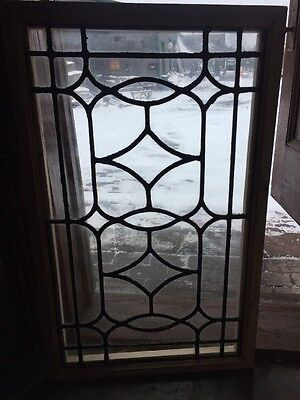 Sg 1252 Antique Leaded Glass Window 20.25 X 32.5