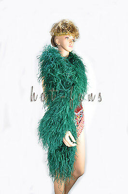 "Forest Green 12 ply luxury Ostrich Feather Boa 71"" long (180 cm) Burlesque fancy"