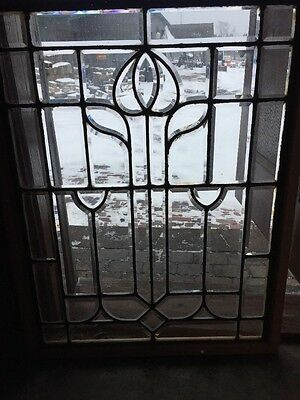 Sg 1256 Antique All Beveled Glass Tulip Window 29.75 X 38.75