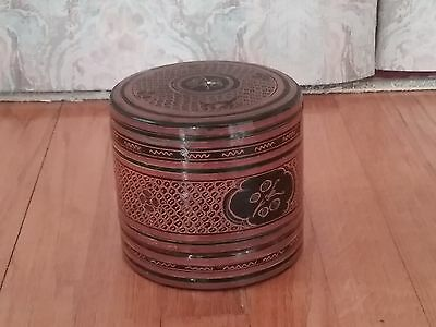 Vintage Burmese Set of Nested Wood Lacquered Canister Boxes