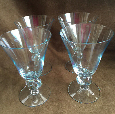 Four Vintage Matching Soft Blue Decorative Stem Wine Or Water Goblets