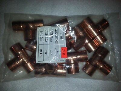 "10 PACK 3/4"" x 3/4"" x 3/4"" Copper Tee T Sweat Solder Pressure Fits 7/8"" Copper"