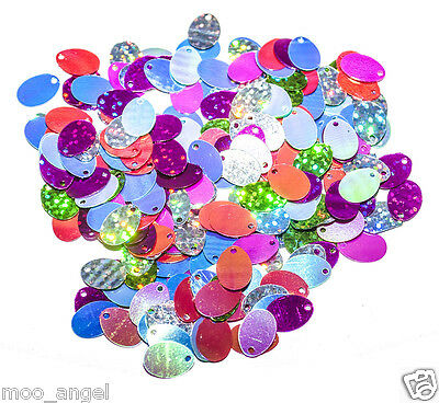 10g Mixed colour oval egg shape hologram sequins 13 x 8 mm