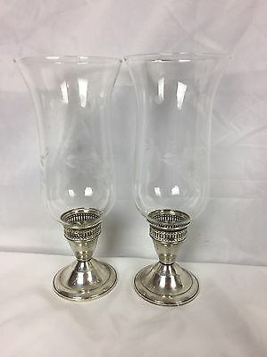 """2 Old 9.5"""" Tall DUTCHIN CREATION Sterling Silver CANDLE HOLDERS Hurricane Lamps"""