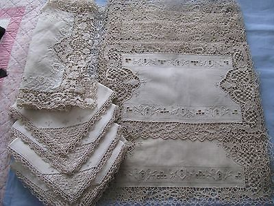 Vtg Needle Lace 25 Pieces 12 Lace Placemats 12 Linen/lace Napkins Runner As Is