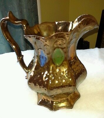 Copper Luster Paneled Pitcher