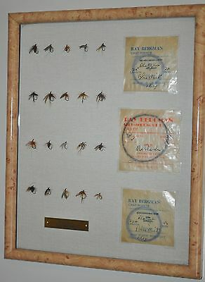 Framed 20 Vintage Ray Bergman Hand Tied flies 3 leader Original Packets