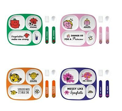 Mr Men 4 Piece Melamine Dinner Set  Little Miss Princess Mr Strong Mr Messy Litt