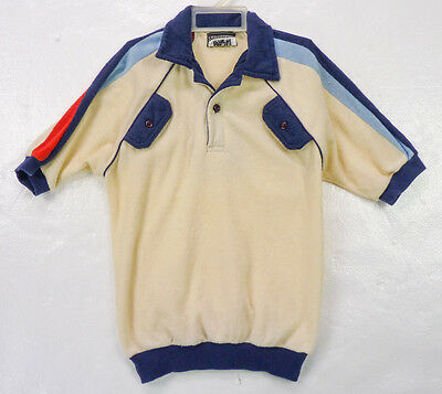Vintage 80s Terrycloth Ivory Mod Striped Collared Beach Polo Shirt Boy 10/12 M