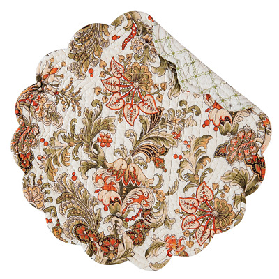 JOCELYN Quilted Reversible Round Placemat by C & F - Flowers - Green, Orange