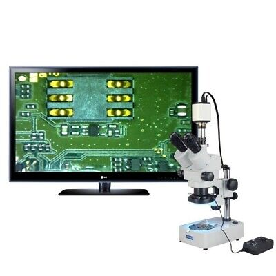 OMAX 3.5X-90X 1080p HDMI Camera Trinocular Zoom Stereo Microscope+144-LED Light