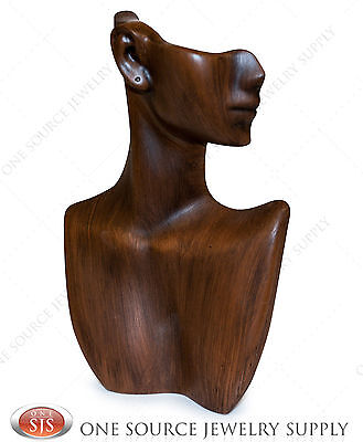 "9""tall Vintage Wood Finish Pendant Display Stand Bust Mannequin Jewelry Display"