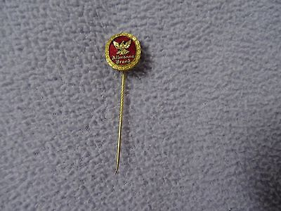 allmanna brand red enamel & gold tone sweden pin sporrong & co stockholm  vtg