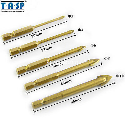 """5PC Glass Drill Bit Set with 1/4"""" Hex Shank 3/4/6/8/10mm Carbide Titanium Coated"""
