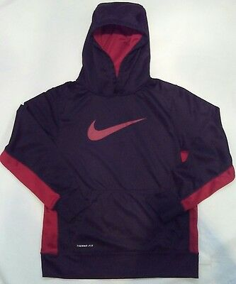 NIKE Boys THERMA-FIT Pullover Hoodie Sweatshirt Black/Red Size Youth Large
