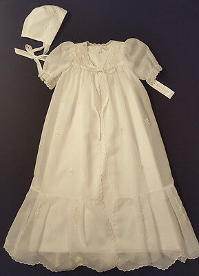 NWT Fantaisie Ivory Embroidered Christening Gown & Bonnet 3 Months NEW