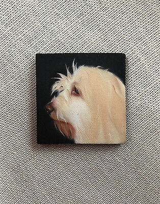 "Original Oil Painting S-O Art - Dog PBGV 1.5"" x 1.5"" Small Miniature Realism"