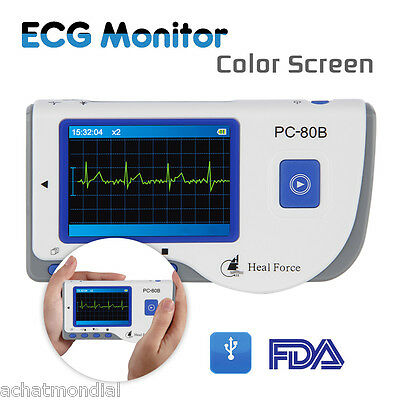 Heal Force PC-80B Handheld Color ECG Heart Monitor FDA Approved+50Electrode Pads