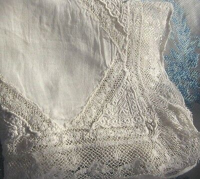 Antique Normandy Lace Handkerchief White Hanky Ayreshire Embroidery