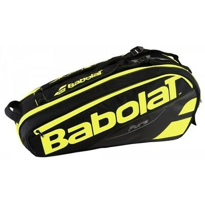 New Babolat Pure Black/Fluro Yellow 6 Rackets Racquets Capacity Tennis Bag