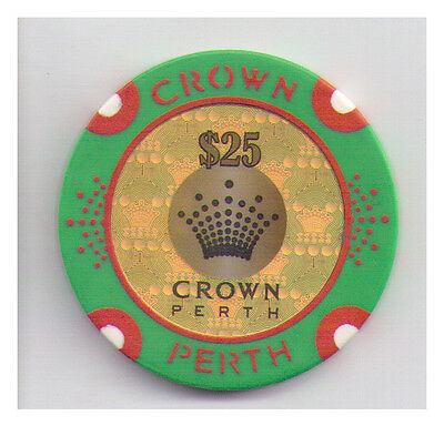 $25.00 Crown Casino - Perth - Casino Chip Green with Red Print Gold Centre