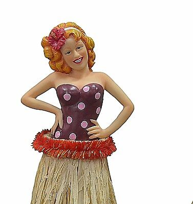 New Pin Up Redhead Hula Girl Tall 7 Inch Car Dashboard Doll Grass Skirt Tropical