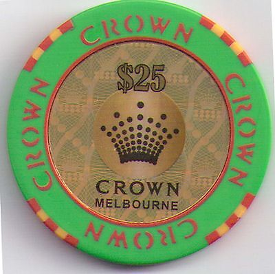$25.00 Crown Casino - Melbourne - Casino Chip Green with Red Print, Gold Centre