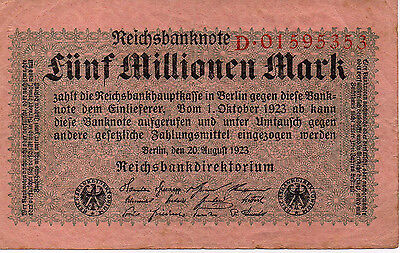 1923 5 Million Marks Banknote Germany - VF - Pick 105