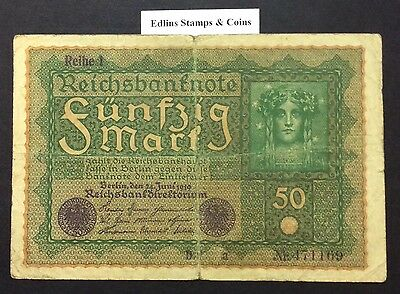 1919 50 Marks Banknote Germany circulated condition - 471169