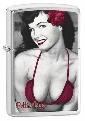 Zippo 29439, Bettie Page-Pinup Girl, Brushed Chrome Finish Lighter, Full Size