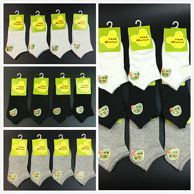 12 Pairs Children's Kids Boy Girl Soft Cotton Low Ankle Socks Solid Color