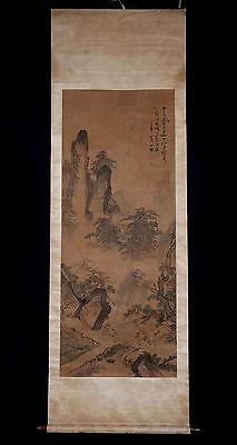 Long Rare Old Chinese Wall Hanging Scroll Hand Painting Landscape Marked PM030