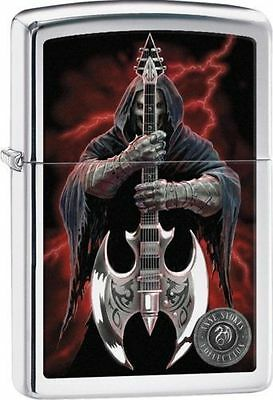 Zippo 29109, Anne Stokes-Grim Reaper & Scythe Guitar, High Polish Chrome Lighter