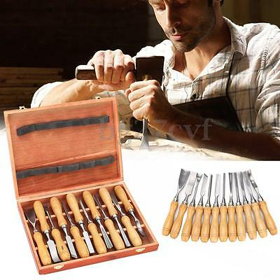 12Pcs Wooden Carving Hand Chisel Tool Set Woodworking Professional Gouges & Box