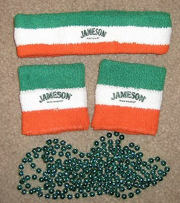 NEW 2 Jameson Irish Whiskey Wristbands, Headband, & Green Beads St Patrick's Day