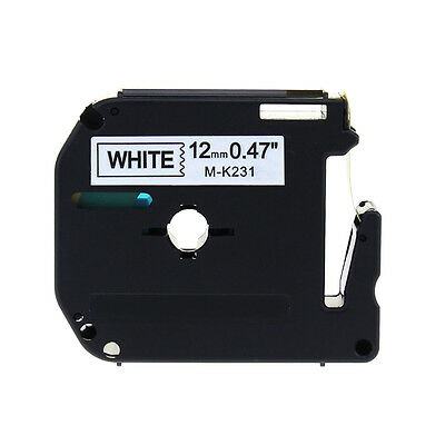 M-K231 MK231 Black on White Compatible Brother P-touch Label 12mm Tape PT65 PT85