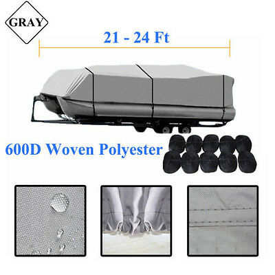 Gray 21-24 Ft 600D Heavy Duty Fabric Trailerable Waterproof Pontoon Boat Cover