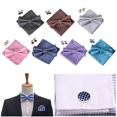 NEW Pre-tied Bow tie and Pocket Square Hankie Cufflinks Set Wedding Party Prom