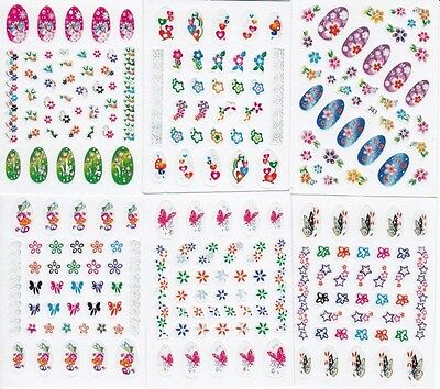 360 BRIGHT COLORFUL Nail Art Decals Rub on Transfer Fingernail Stickers Tattoos