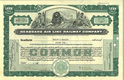 Seaboard Airline Railway Company   1933 New York old stock certificate share