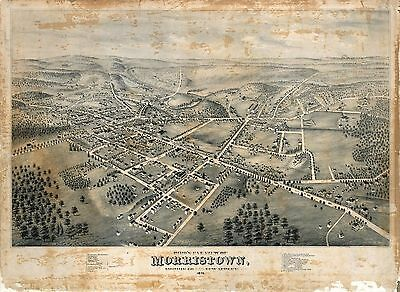 nj24 Antique old map NEW JERSEY NJ genealogy family history MORRISTOWN 1876