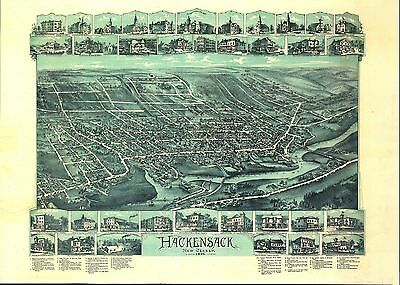 nj18 Antique old map NEW JERSEY NJ genealogy family history HACKENSACK 1896