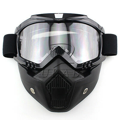 Motorcycle Helmet Riding Detachable Modular Face Mask Shield Clear Lens Goggles
