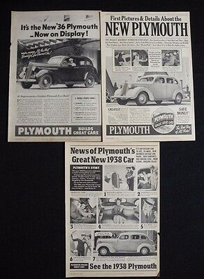Antique Plymouth Car Ads 1930's Old Magazine Advertisements Lot of 3