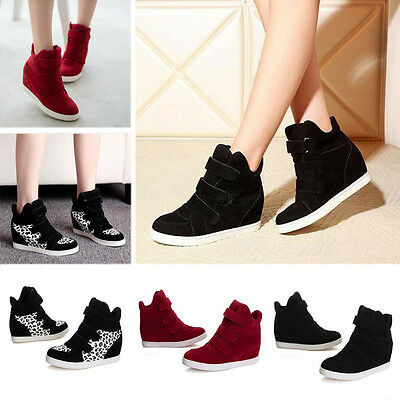 Women Increased Hidden Heels Wedge Shoes Casual Athletic Canvas Sneakers Boots