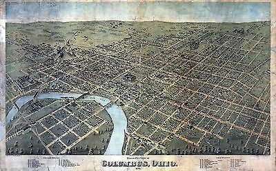 oh19 Antique old panoramic map OHIO OH genealogy family history COLUMBUS 1872