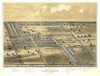 oh12 Antique old panoramic map OHIO OH genealogy history CAMP CHASE 186-